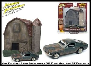 Johnny Lightning Diorama Barn Finds With '68 Ford Mustang 1:64 Scale Diecast Car