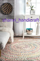 Multi Colour Round Braided Home Living Decor Indian Jute & Cotton Mat Floor Rugs