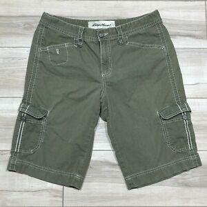 """Eddie Bauer Cargo Shorts Women Size 12 Cotton Blend 13"""" Inseam Camping Green"""