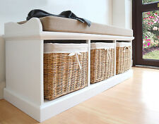 Tetbury White Bench With Cushion and Storage Baskets - Large
