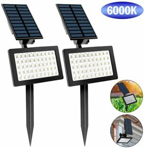 2PACK Solar 50-LED Spot Light Outdoor Garden Landscape Flood Lamp Waterproof US