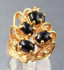 Ladies Onyx & Rihinestone 18k Yellow Gold plated Ladies Cluster Dress Ring