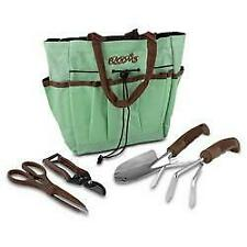 Blooms 5-Piece Gardening Tool Set (Mint Canvas Bag)