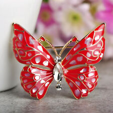 Charms Butterfly Brooches Red Abalone Shell Gold Plated Brooch Pin Party Gift