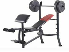 NEW Weider Bench Press Set With 80lb Weight Set & Bar - Gym Weights Lifting