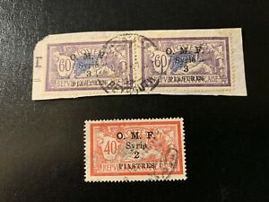 Syria - Stamps of France Surch / Optd OMF 2pi & 3pi (1921) w. Beirut cachet