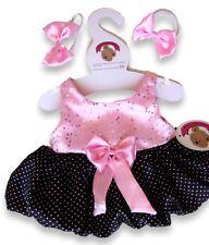 Oso de peluche ropa encaja Construir una Peluches Oso Rosa Negro Puff Ball Dress 2 Arcos