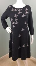 NWT Womens Nine West Gray 3/4 Sleeve Houndstooth Sweater Dress Sz M Medium