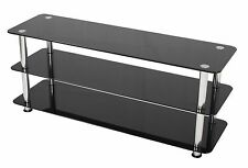 """Black Glass TV Stand UMS2 LED LCD Plasma Television 32-60"""" Screens 115cm Wide"""