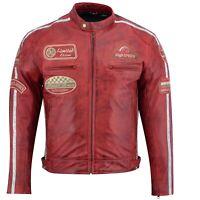 Herren Motorrad Lederjacke Biker Chopper Rocker Jacke mit Protektoren Retro