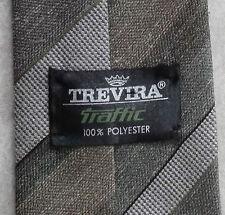 TREVIRA traffico MOD Cravatta Vintage 1960s 1970s terroso Verde Beige a Righe Strisce