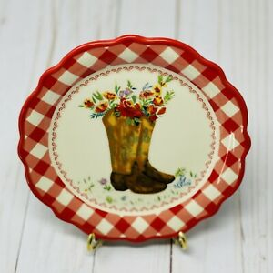 Pioneer Woman Gingham Boot Appetizer Plate 7 Inch New