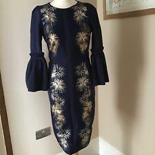 Ted Baker 'Jeeane' Stardust Flute Sleeve Dress Dark Blue/Gold Size 1 .