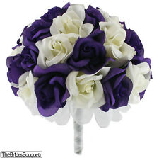 Purple and Ivory Silk Rose Hand Tie (36 Roses) - Artificial Silk Bridal Bouquet