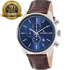 Original Vincero Men's Wrist Watch Chronograph Blue Leather Strap 12 Hour Dial