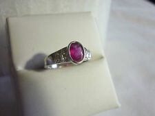 Stunning 2 carat Ruby and Diamond Sterling Silver Ring - U.S. Size 7