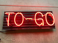 Vintage Looking Neon Sign From Closed Industrial Restaurant TO GO Red