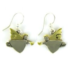 Tiny Love Angel Wire Earrings Brass + Alpaca Silver Hand Made Silversmith Mexico