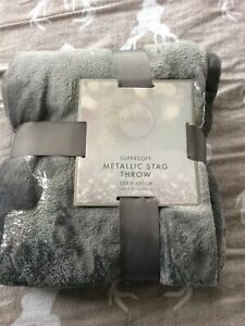 Grey Supersoft Throw Blanket Cover Silver Foil Stag NEW 125 x 150cm Gift