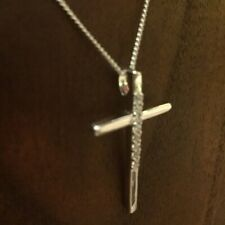 0.25Ct Round cut Diamond Cross Pendant Solid 14K White Gold Finish With Chain