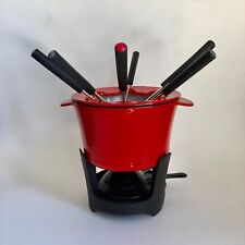 Crate & Barrel 676-465 Red Cast Iron Fondue Set Pot Forks Cheese Chocolate Oil