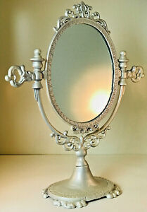 "Vintage Large 19.5""  White Cast Iron Victorian Standing Tilting Vanity Mirror"