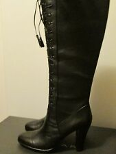 Tahari Lawton Black 100% Leather Knee High Lace Up Boots High Heel Sz 8.5 M/W