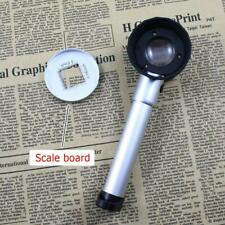 10X Optical Glass Lens Handheld LED Magnify Glass Measuring Scale Magnifier Tool