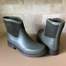 UGG PAXTON OLIVE GREEN RUBBER SUEDE SHEEPWOOL RAIN BOOTS SIZE US 10 WOMENS