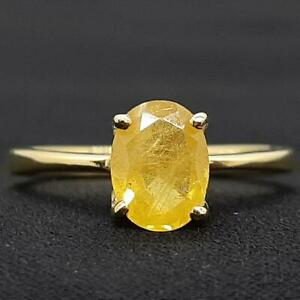 Genuine 1.45ctw Canary Yellow Sapphire 14K Yellow Gold 925 Silver Ring Size 7