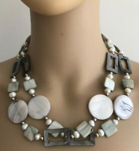 WOMEN'S REAL FRESHWATER PEARL & MATHER OF PEARL TWIN 2 ROW NECKLACE