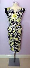 PER UNA LEMON, Negro Y Blanco Floral Peplum vestido lápiz Ajuste Talla 14