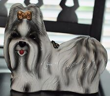 TIMMY WOODS SHIH TZU HAND CARVED DOG PURSE CLUTCH PUPPY MINAUDIERE CRYSTALS BOW