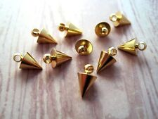 Gold Spike Charms (10) - G076 Jewelry Finding