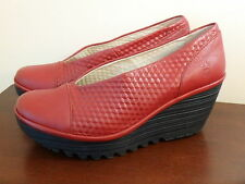 FLY LONDON YENA CHERRY RED LEATHER WOMEN'S SLIP ON WEDGE SHOES NEW SIZE 39 8 8.5