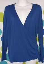 Loft Ann Taylor Women's Small Maternity Faux Wrap Long Sleeve Blue Top