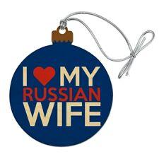 I Love My Russian Wife Wood Christmas Tree Holiday Ornament