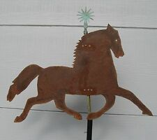 ANTIQUE STEEL HORSE WEATHERVANE ON POLE SARATOGA NY FARM ESTATE FIND