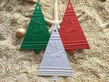 10 Kraft Gift Swing Tags Embossed Merry Christmas Tree Red Green White Reindeers
