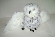 """Folkmanis Plush Spotted Snowy Owl Puppet Rotating Head 14"""" Harry Potter Hedwig"""
