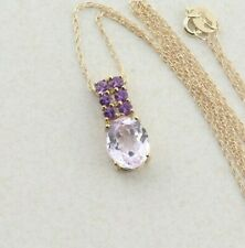 10k Yellow Gold Natural Pink Kunzite and Amethyst Necklace 18 inch chain