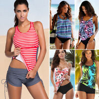 Women Push Up Padded Tankini Bikini Set Swimsuit Swimwear Tank Top+Shorts Bottom