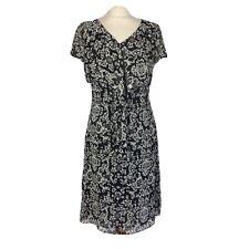 Biba Black White Chiffon Mulberry Silk Frill Floaty Dress Size 10/12
