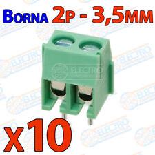 10x Mini Borna 2 pines VERDE Conexion 3,5mm Clema 2p 3.5mm enlazable terminal