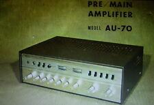 SANSUI AU-70 PRE MAIN AMP OPERATING INSTRUCTIONS INC SCHEM DIAG PRINTED ENGLISH