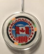Canada Canadian Flag Poker Chip Christmas Ornament Holiday Casino Maple Leaf