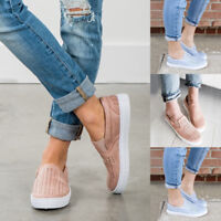 Womens Casual Canvas Hollow Out Round Toe Flats Slip On Loafer Shoes Sneakers US