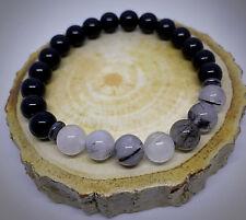 Natural Gemstone Onyx Power Bead Stone Bracelet Reiki Healing for Men Women UK