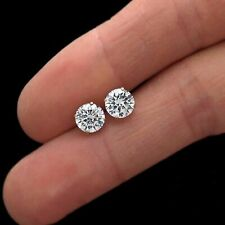 2ct Round Cut Diamond Earrings Solitaire Stud Earring 14K Solid Yellow Gold Over