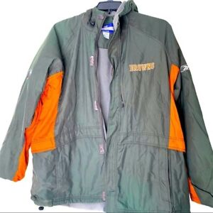 NFL Reebok Browns Mens Hooded Coat Green Orange Logo Official Thick Men Large